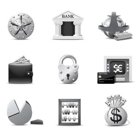 bank overschrijving: Bank pictogrammen | B&W serie  Stock Illustratie