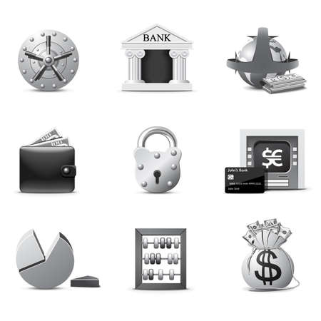 Banking icons | B&W series Stock Vector - 7840944