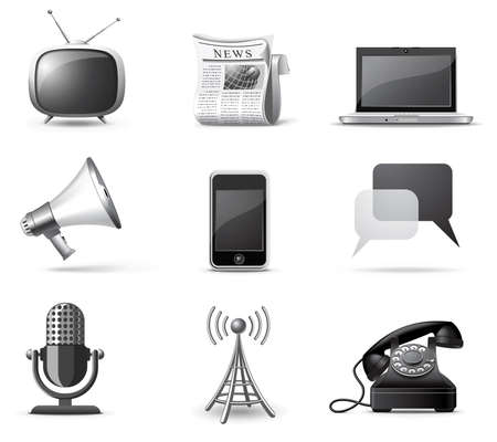 telecom: Communication icons | B&W series