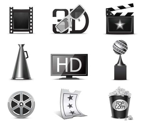 Movie icons | B&W series Stock Vector - 8073624