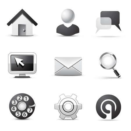 Internet icons | B&W series Stock Vector - 8073619