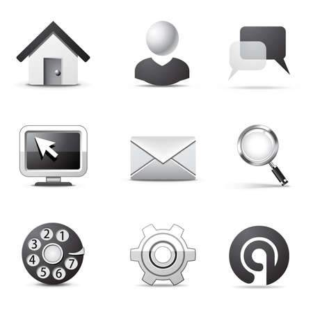 Internet icons | B&W series Stock Vector - 8073619