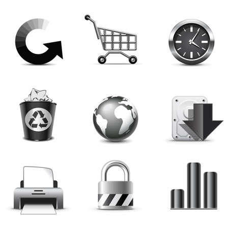 rubbish cart: Web icons | B&W series Illustration