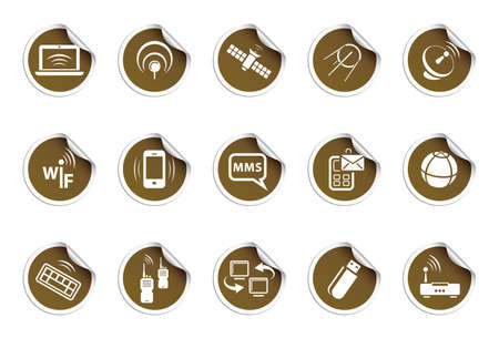 Wireless icons | sticky series Stock Vector - 8248570