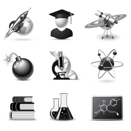 white atom: Science icons   B&W series Illustration