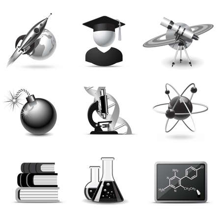 Science icons | B&W series Stock Vector - 8248573