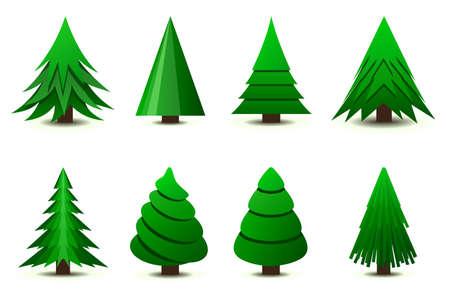 silhouette arbre hiver: Arbres de No�l Illustration