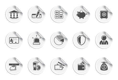 Bank icons | Sticky series Stock Vector - 8325676