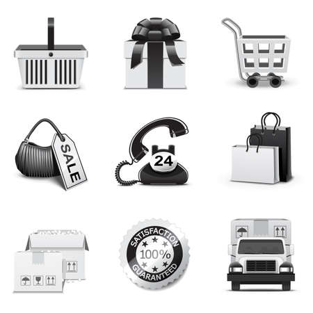 Shopping icons | B&W series Stock Vector - 8498965
