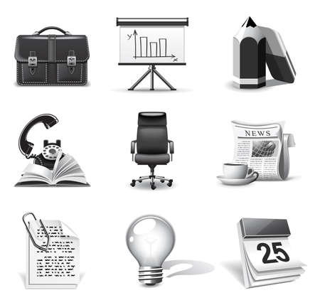 Business icons | B&W series Stock Vector - 8498963
