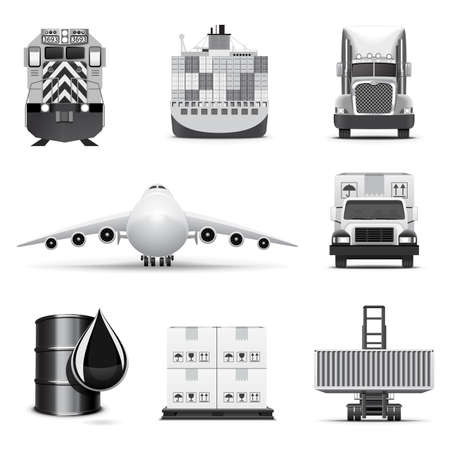 cargo container: Logistic icons 1 | B&W series Illustration