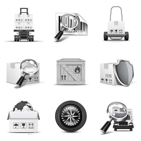 Logistic icons 2 | B&W series Stock Vector - 8685946