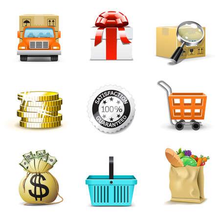 Bag of gold coins: Shopping icons | Bella series, part 2 Hình minh hoạ