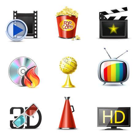 Iconos de película y cine   Bella serie Ilustración de vector