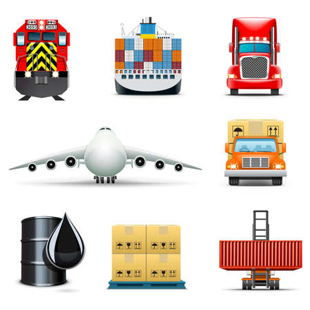 cargo container: Logistic and transportation icons | Bella series