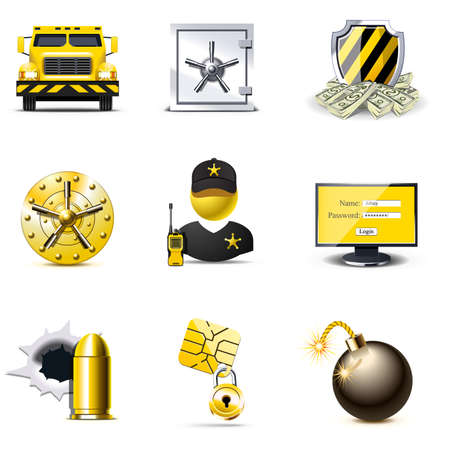 security monitor: Bank security icons | Bella series