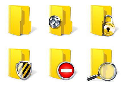 Conceptos de seguridad del equipo. Carpetas Ilustración de vector