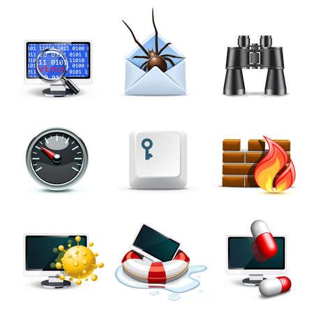 virus informatico: Iconos de seguridad del equipo | Bella serie