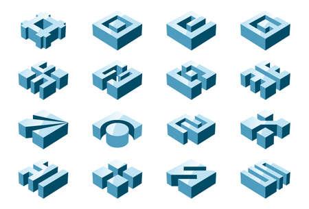 abstract cubes: 3D design elements Illustration