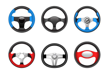 car wheels: Steering wheels Illustration