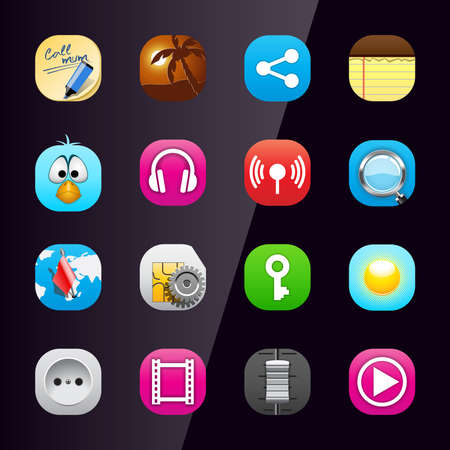 Mobile phone application icons, part 3 Vector