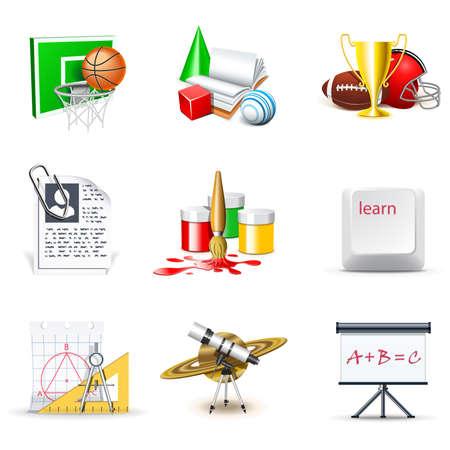 educacion fisica: Iconos de la escuela | Bella serie, parte 2 Vectores