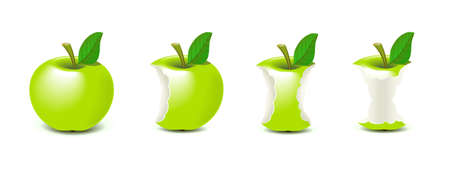 green apple: Manzana mordida Vectores