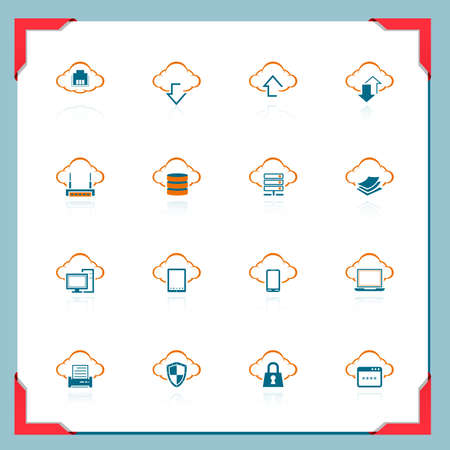 Cloud computin icons | In a frame series Vector
