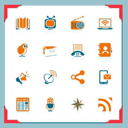 Los iconos de la comunicación   En el marco de una serie Ilustración de vector