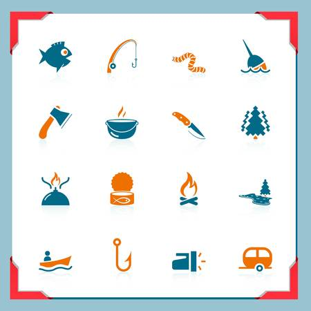 Fishing and hunting icons   In a frame series Vetores