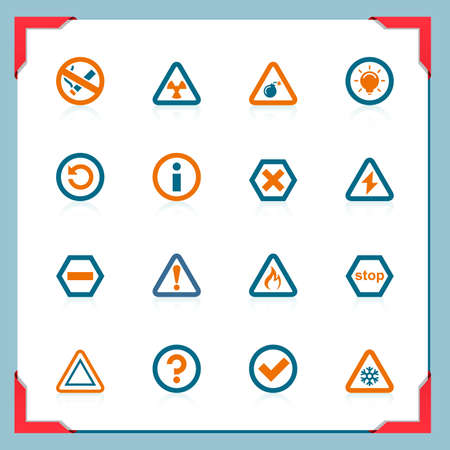 Warning and information signs | In a frame series Vector