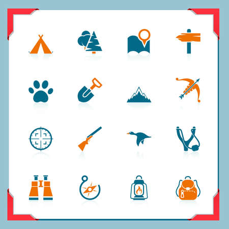 binocular: Camping and hunting icons | In a frame series Illustration