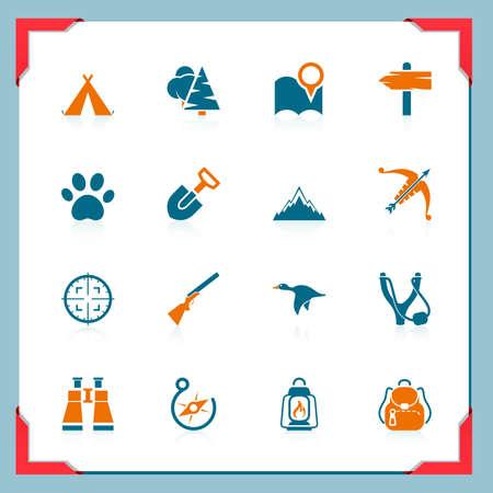 incendio bosco: Icone campeggio e la caccia   In una serie telaio