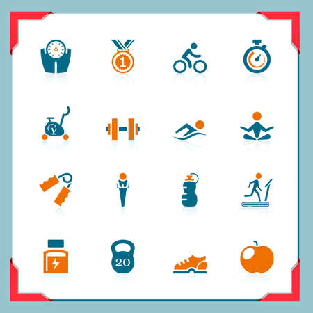 weight machine: Fitness icons   In a frame series Illustration