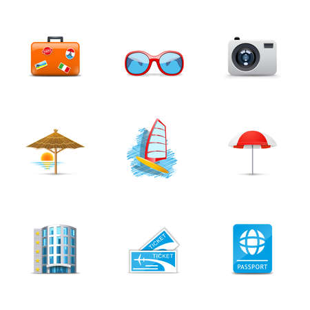 camp: Vacation and holiday icons