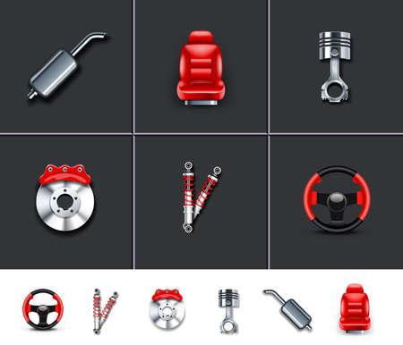 Las piezas del coche 2 Ilustración de vector