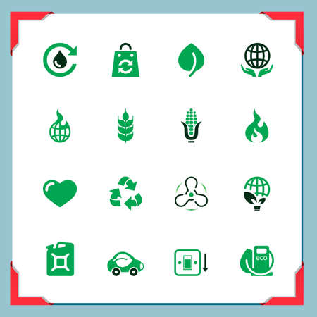 Eco icons   In a frame series Vector