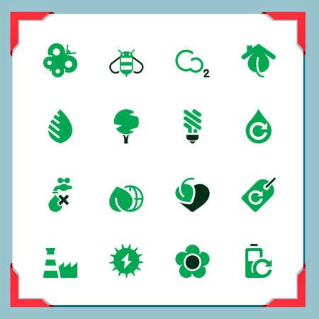 ahorro energetico: Iconos del medio ambiente En el marco de una serie