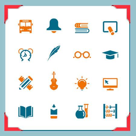 学校のアイコン 2 フレーム シリーズ  イラスト・ベクター素材