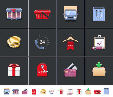 paper hanger: Shopping icons Illustration