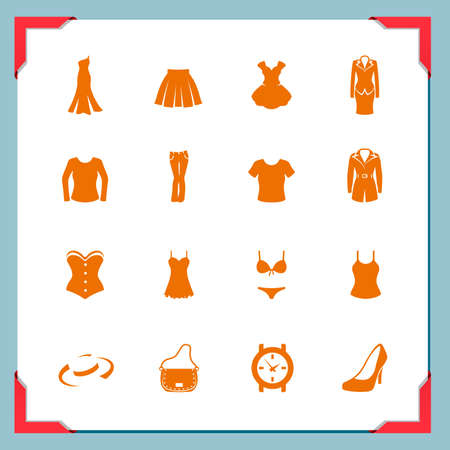 Clothing icons  Women   In a frame series Illustration