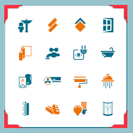 aire acondicionado: Iconos Inicio renovación en una serie marco Vectores