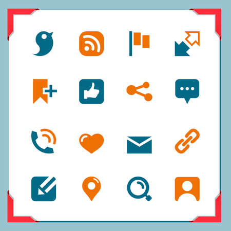 Communication and blog icons   In a frame series Ilustracja