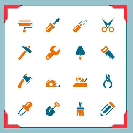 herramientas de carpinteria: Herramientas de trabajo iconos en una serie marco