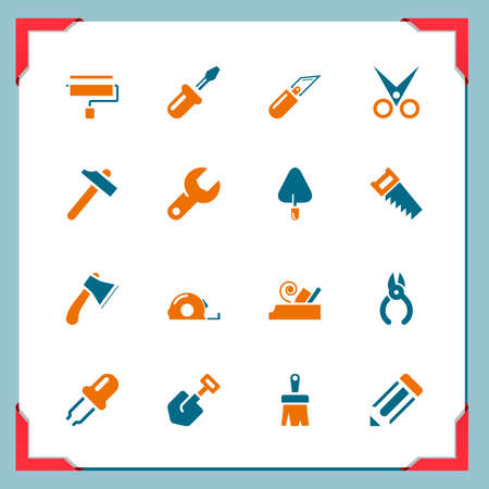 Work tools icons In a frame series Vetores