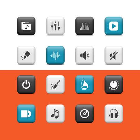 botones musica: M�sica botones Vectores