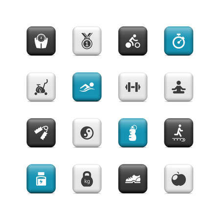 hand with dumbbell: Fitness buttons Illustration
