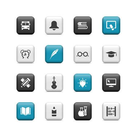iconos educacion: Botones Escolares