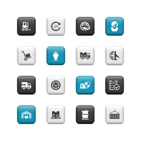 Shipping and cargo buttons Vector