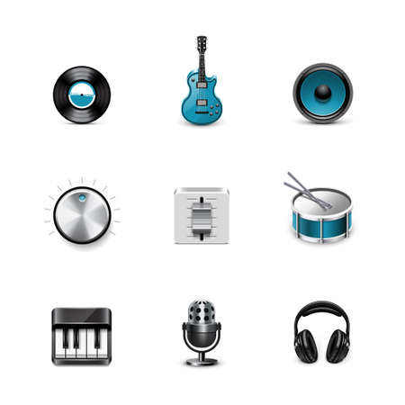 Music icons  Azzurro series Vector